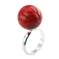 Handmade Silver Coral Ring 16mm Red Sponge Coral Sphere
