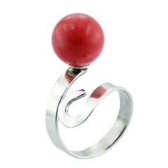 Sterling Silver Pink Coral Ring Sphere On Spiral Design