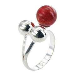 Delightful Composed Red Sponge Coral Silver Beads Ring