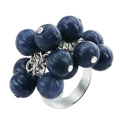 925 Sterling Silver Ring With Natural Blue Coral Beads Cluster
