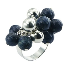 Natural Blue Coral & 925 Sterling Silver Spheres Cluster Ring