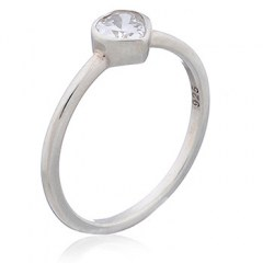 Heart Silver Ring Clear Cubic Zirconia