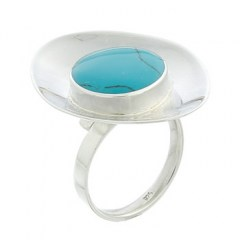 Sterling Silver Marquise Shaped Ring Cup with Synthetic Turquoise