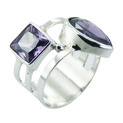 Cubic Zirconia Sterling Silver Gemstone Ring Opposing Shapes