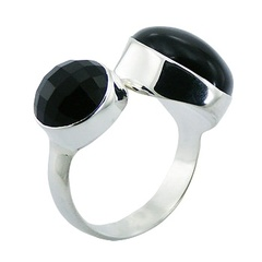 Chic Black Agate 925 Sterling Silver Ring Mixed Shapes