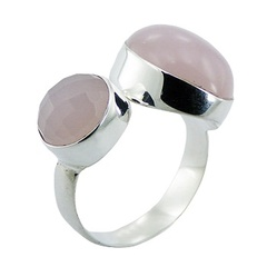 Girlie Pink Hydro Quartz 925 Silver Ring Chic Glass Jewelry