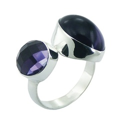 Violet Hydro Quartz 925 Silver Ring Chic Sparkle And Glow