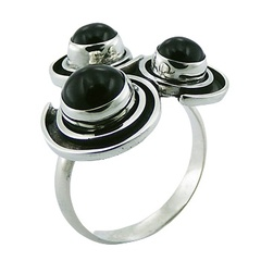Black Agate 925 Sterling Silver Ring Threesome Of Gems