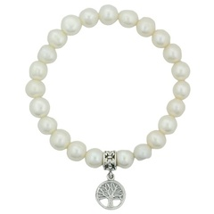 8 mm Freshwater Pearl Stretch Bracelet Tree of Life Charm