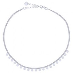 Circle Discs Centered In Rhodium Plated Choker Necklace