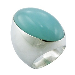 Silver Hydro Quartz Ring Bold Oval Light-Blue Silver Combo