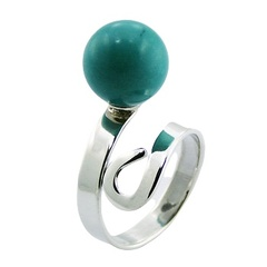 Turquoise Sterling Silver Gemstone Ring Bead On Spiral