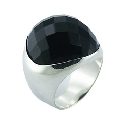 Round Chunky Black Agate Sterling Silver Gemstone Ring
