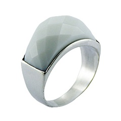 Arched Sterling Silver Ring Facet Cut White Hydro Quartz