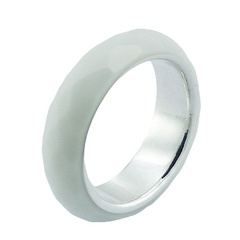 Sterling Silver Hydro Quartz Ring White Faceted Band