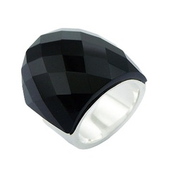 Stunning Faceted Arched Black Agate Inlay Sterling Silver Ring