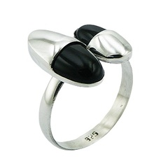 High-End Fashion Combo Black Agate Gems Sterling Silver Ring