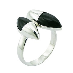 Convexed Marquise Shape Fancy Silver Black Agate Ring