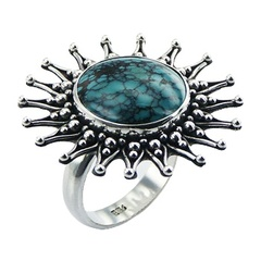 Handmade Ornate Silver Flower Ring With Turquoise Gemstone