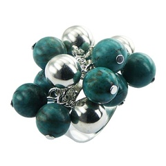 Adorable Cluster Ring Of Fancy Turquoise And Silver Spheres
