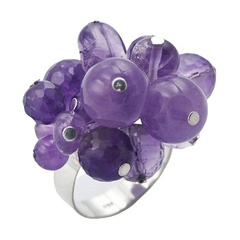 Violet Sterling Silver Ring With Amethyst Spheres Cluster