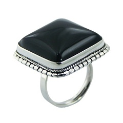 Smoothed Square Black Agate Ring Ornate Sterling Silver