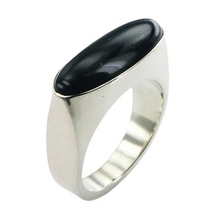Contemporary Oval Black Agate Gemstone Ring Sterling Silver