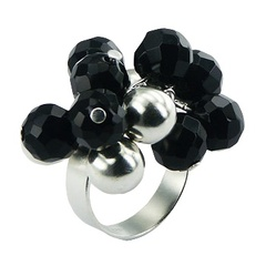 Faceted Black Agate And Silver Spheres Elegant Cluster Ring