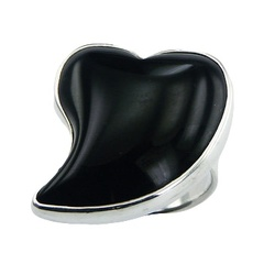 Inspirational Heart Black Agate Gemstone Sterling Silver Ring