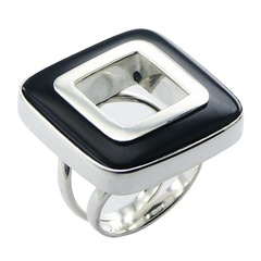 Highly In Fashion Open Ring Smoothed Square Black Agate
