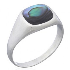 Silver Corners Rounded Rectangle Abalone Shell Rings
