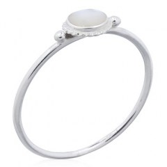 Mother Of Pearl Round Silver Bordered Round Rings