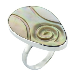 Handmade Ovate Rainbow Shell Shiny 925 Sterling Silver Ring
