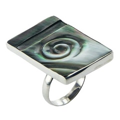 Gorgeous Hand Carved Green Shell Ring 925 Silver