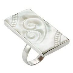 Rectangular Mother Of Pearl Ring Carved & Silver