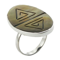 Fancy Rainbow Shell Hand Carved Oval 925 Silver Ring