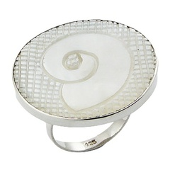 Carved Sea Shell On Mother Of Pearl Squares Ring