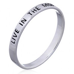 """Live in The Moment"" Silver Band Ring"