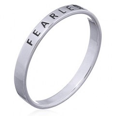 """Fearless"" Sterling Silver Band Ring"