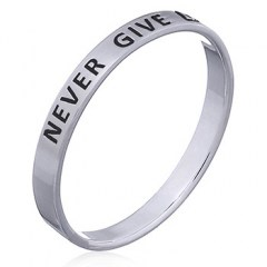 """Never Give Up"" Sterling Silver Band Ring"