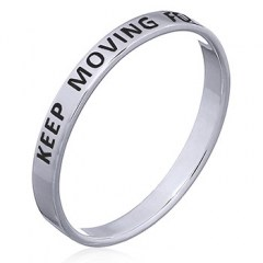 """Keep Moving Forward"" Sterling Silver Band Ring"