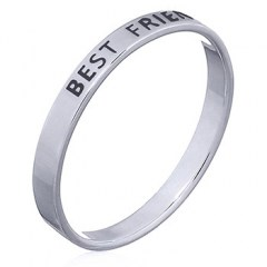 """Best Friends"" Sterling Silver Band Ring"