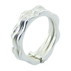 Casted Sterling Silver Ring Triple Wavy Bands