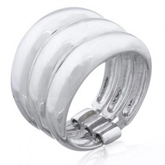 Sterling Silver Designer Bands Triple Stacked With Holder
