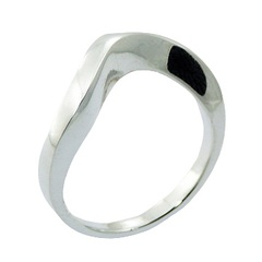 Curved 925 Sterling Silver Designer Ring Chic Minimalism