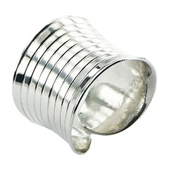 Fancy Fluted Concaved Sterling Silver Shiny Cylinder Ring