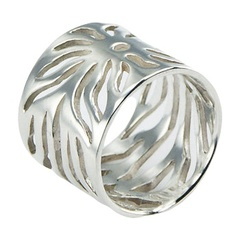 In Vogue  Open Flowing Rays Sterling Silver Sun Cylinder Ring