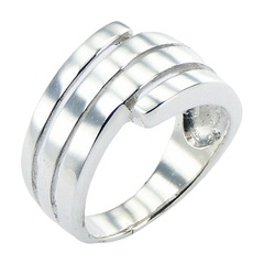 Plain Sterling Silver Spiral Ring Tapered Smart Imitation
