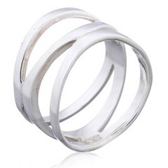 Plain Silver Ring Superbly Arranged Original Triple Bands