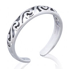 Spiral Tribal Silver Toe Ring